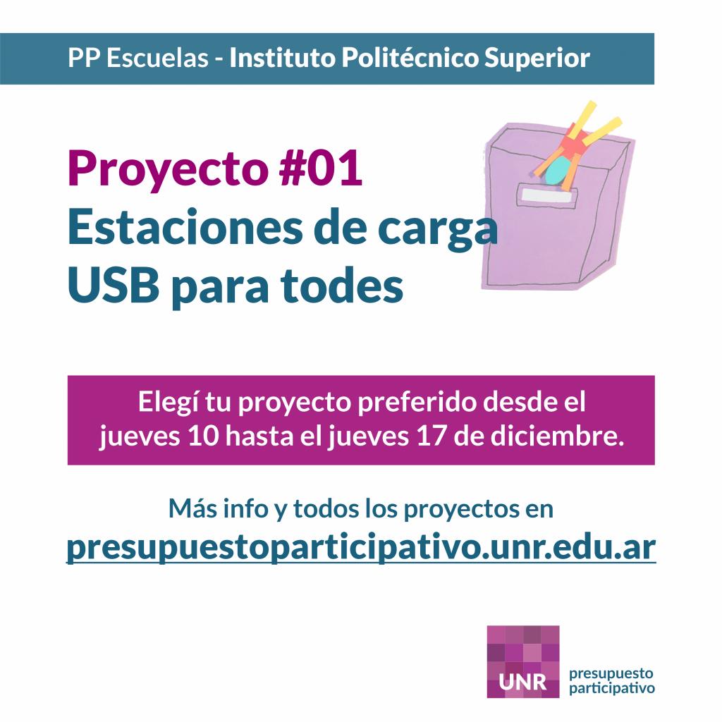 Instituto Politécnico Superior - Proyecto 1 - Estaciones de carga USB para todes
